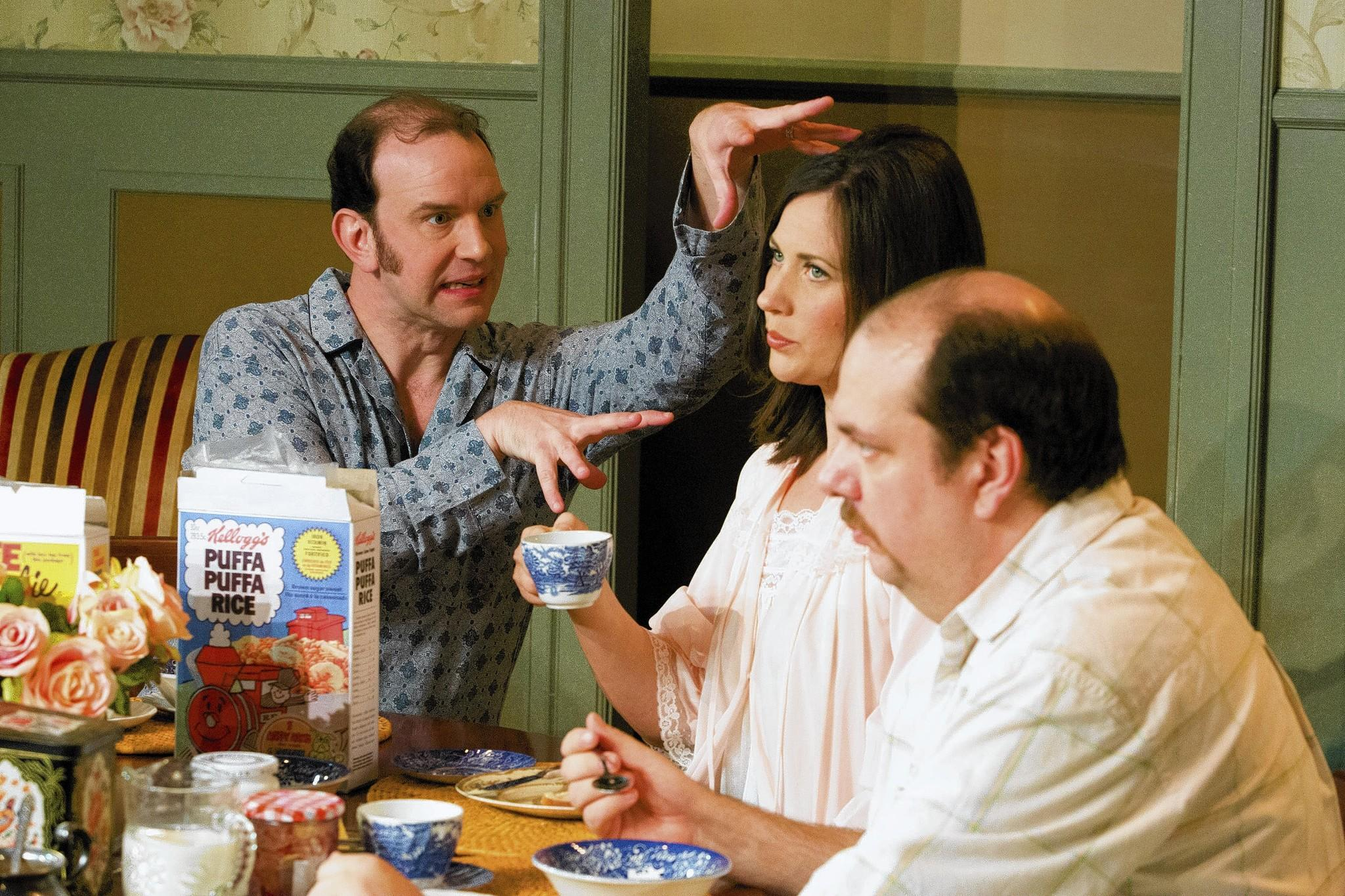 "Norman (Simon Needham, left) is an annoying breakfast companion for Sarah and Reg (Heather Lea Charles, Thom Mesrobian) in ""Table Manners."""