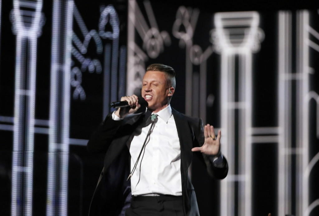 "Macklemore performs ""Same Love"" at the Grammy Awards on Sunday."