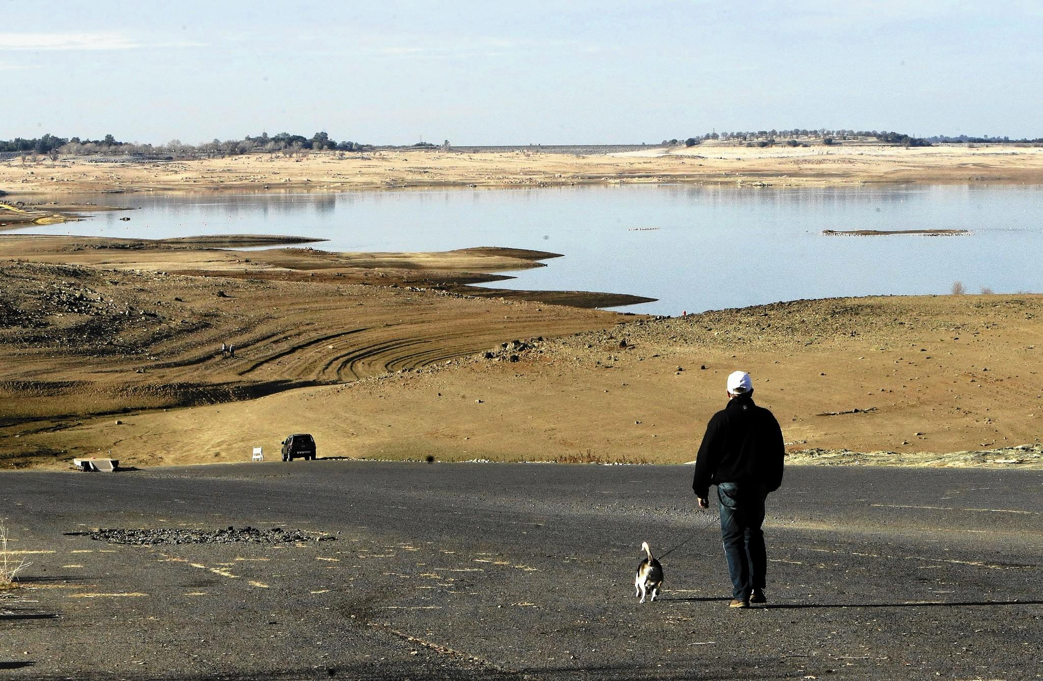A visitor to Folsom Lake in California's Central Valley walks his dog down a boat ramp that is now several hundred yards from the water's edge. At a mere 17% capacity, the lake has become a visual symbol of California's water crisis.