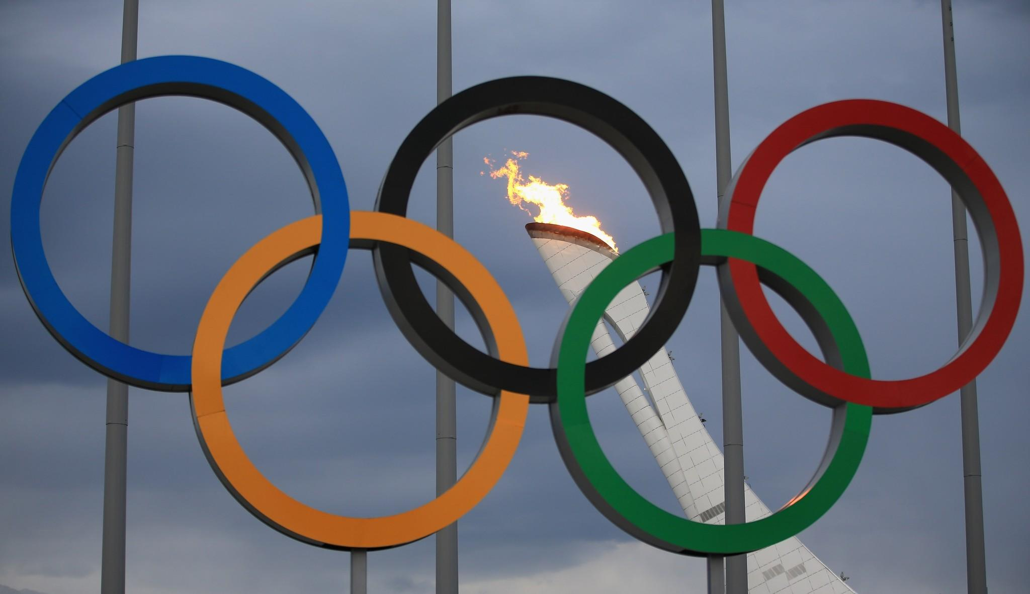 The Olympic cauldron is tested by fire crews at the Sochi 2014 Winter Olympic Park.