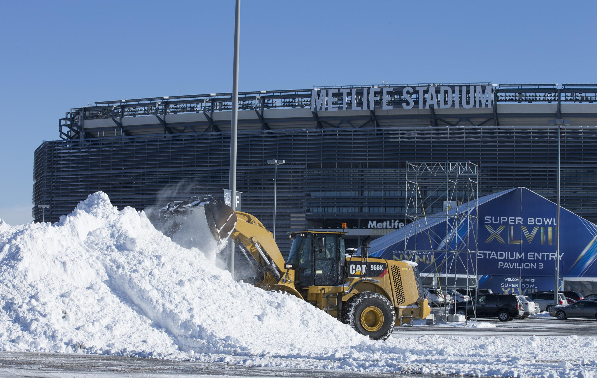 Snow is cleared last week from the parking lot of MetLife Stadium.