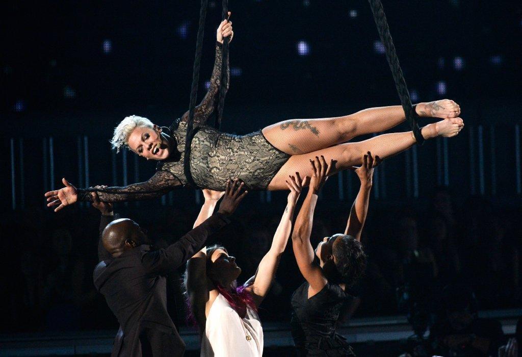 Pink hanging around at the Grammys.