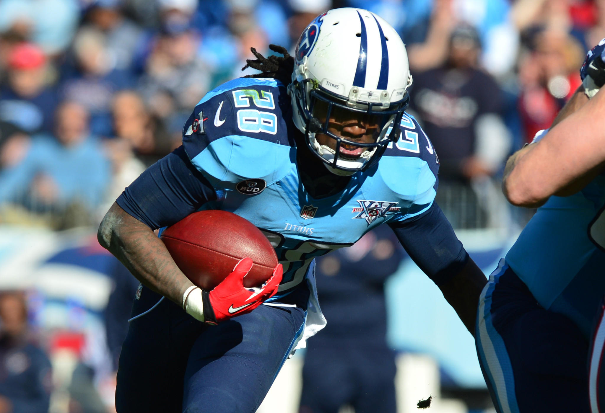 Tennessee Titans running back Chris Johnson (28) carries the ball against the Houston Texans during the first half at LP Field. Mandatory Credit: Don McPeak-USA TODAY Sports ORG XMIT: USATSI-133040