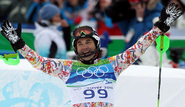 Mexican skiier Hubertus Von Hohenlohe wears one of his colorful outfits at the Vancouver Winter Olympics in 2010.
