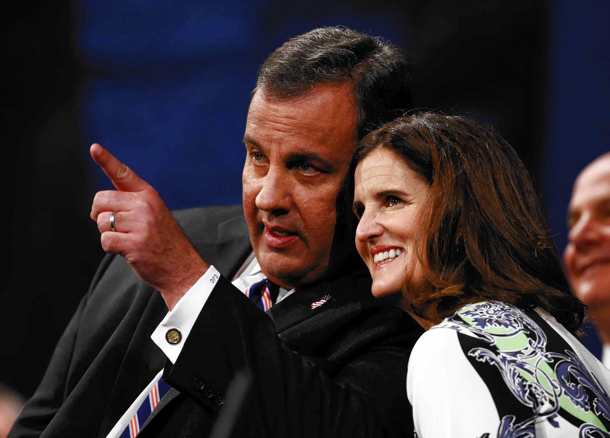 New Jersey Gov. Chris Christie and wife Mary Pat look at the crowd after he was sworn in for his second term on Jan. 21 in Trenton.