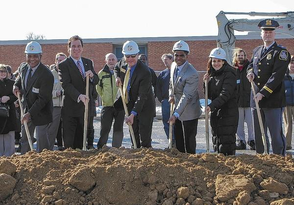 From left, Baltimore County Recreation and Parks Director Barry Williams, County Executive Kevin Kamenetz, County Councilman Todd Huff, School Superintendent Dallas Dance, Padonia International Elementary School Principal Melissa DiDonato, and Cockeysville Precinct Commander Capt. Dennis Delp break ground on the $3 million Cockeysville Community Center at Padonia International Elementary School.