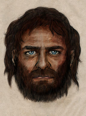An artist's impression of a hunter-gatherer who lived about 7,000 years ago and whose remains were found in a cave in Spain. His DNA reveals he had blue eyes.