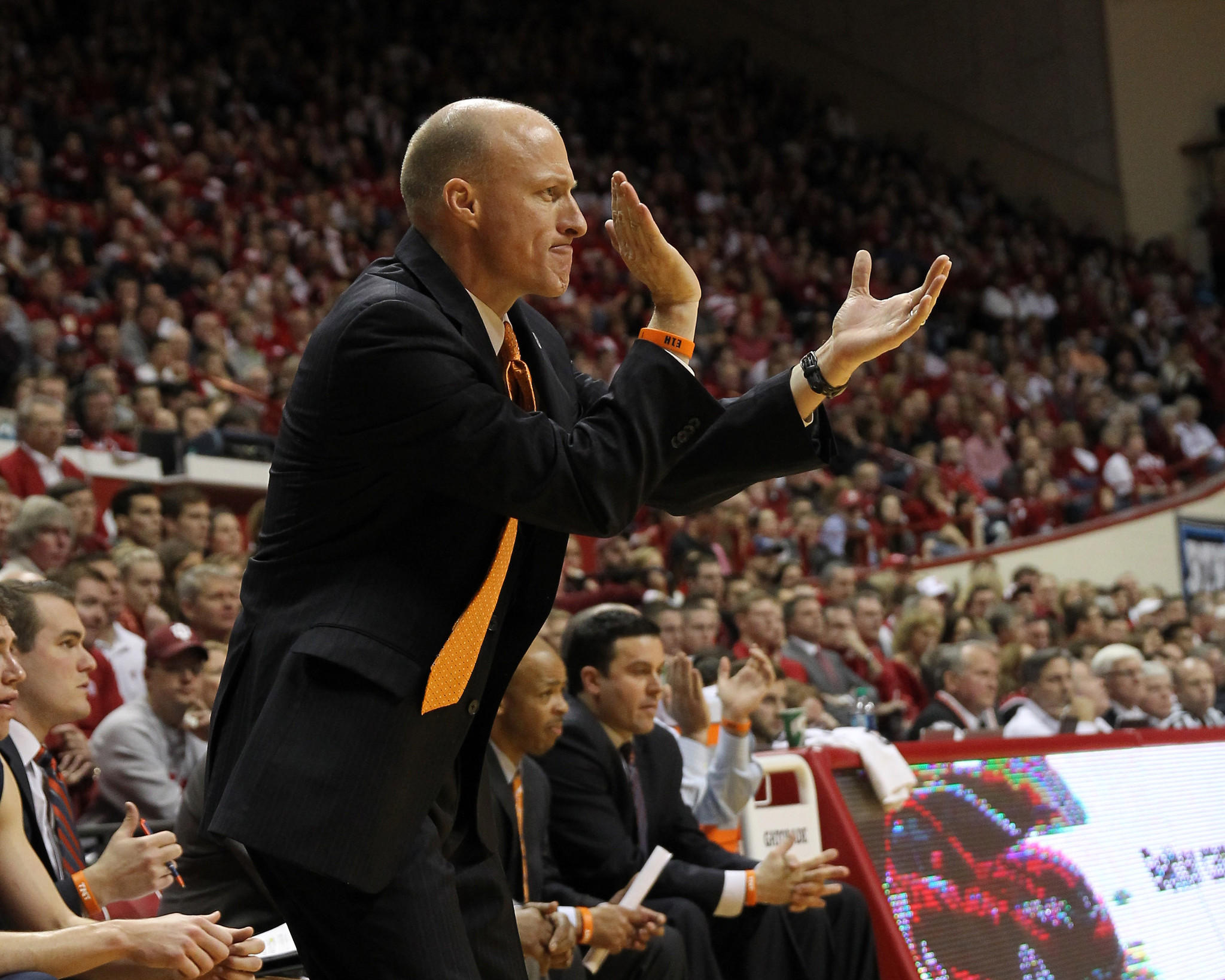Illini coach John Groce reacts during the second half of the game against Indiana Hoosiers at Assembly Hall. Indiana won 56-46.