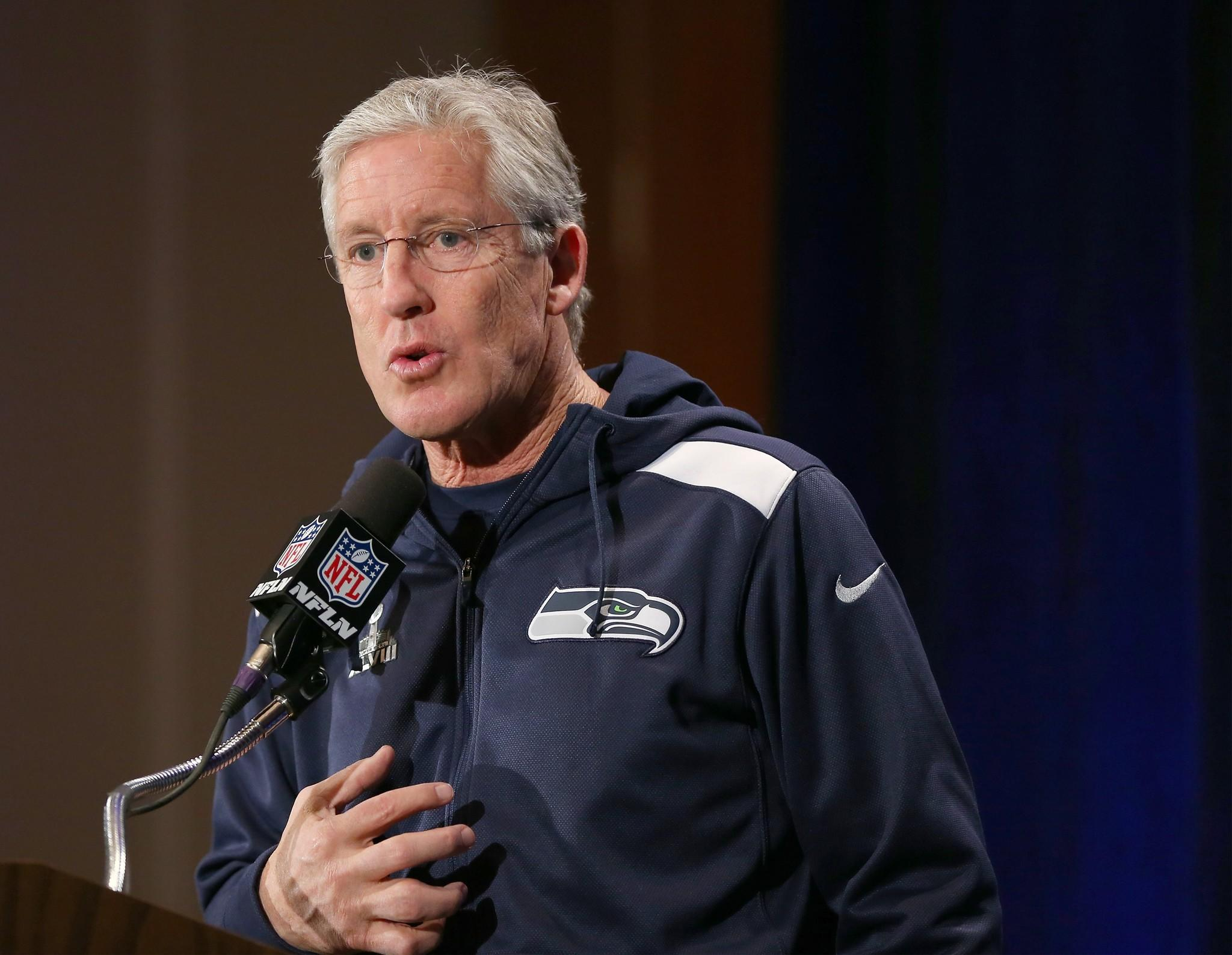 Seattle Seahawks coach Pete Carroll addresses the media during Super Bowl XLVIII media availability at the Westin Hotel.