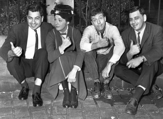 "From left, songwriter Richard Sherman, actress Julie Andrews, actor Dick Van Dyke and songwriter Robert Sherman on the set of ""Mary Poppins.""<br><br>