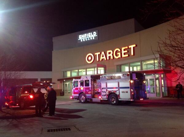 A fire in the back of the Target store at the Enfield Square Mall caused the evacuation of the store and mall.