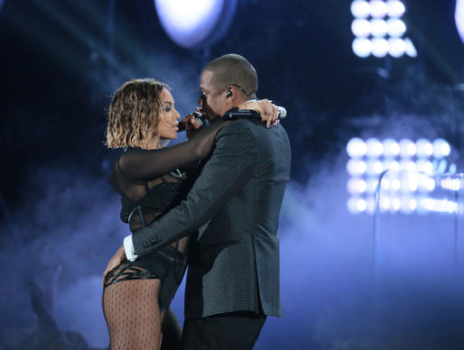 "Hip-hop siren and entrepreneur Beyonce opens the Grammys with husband and hip-hop mogul Jay Z, singing the track ""Drunk in Love."" The pair amass massive cheers from the audience."