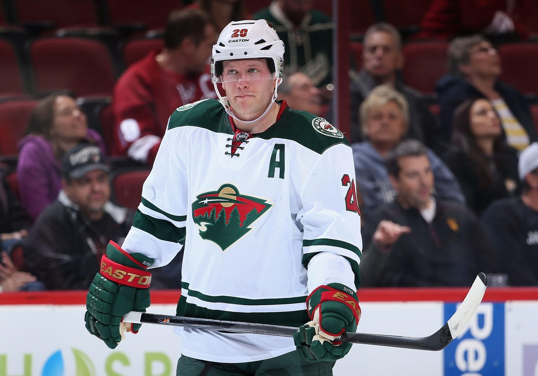 The Wild's Ryan Suter skates during a break from a game against the Coyotes.