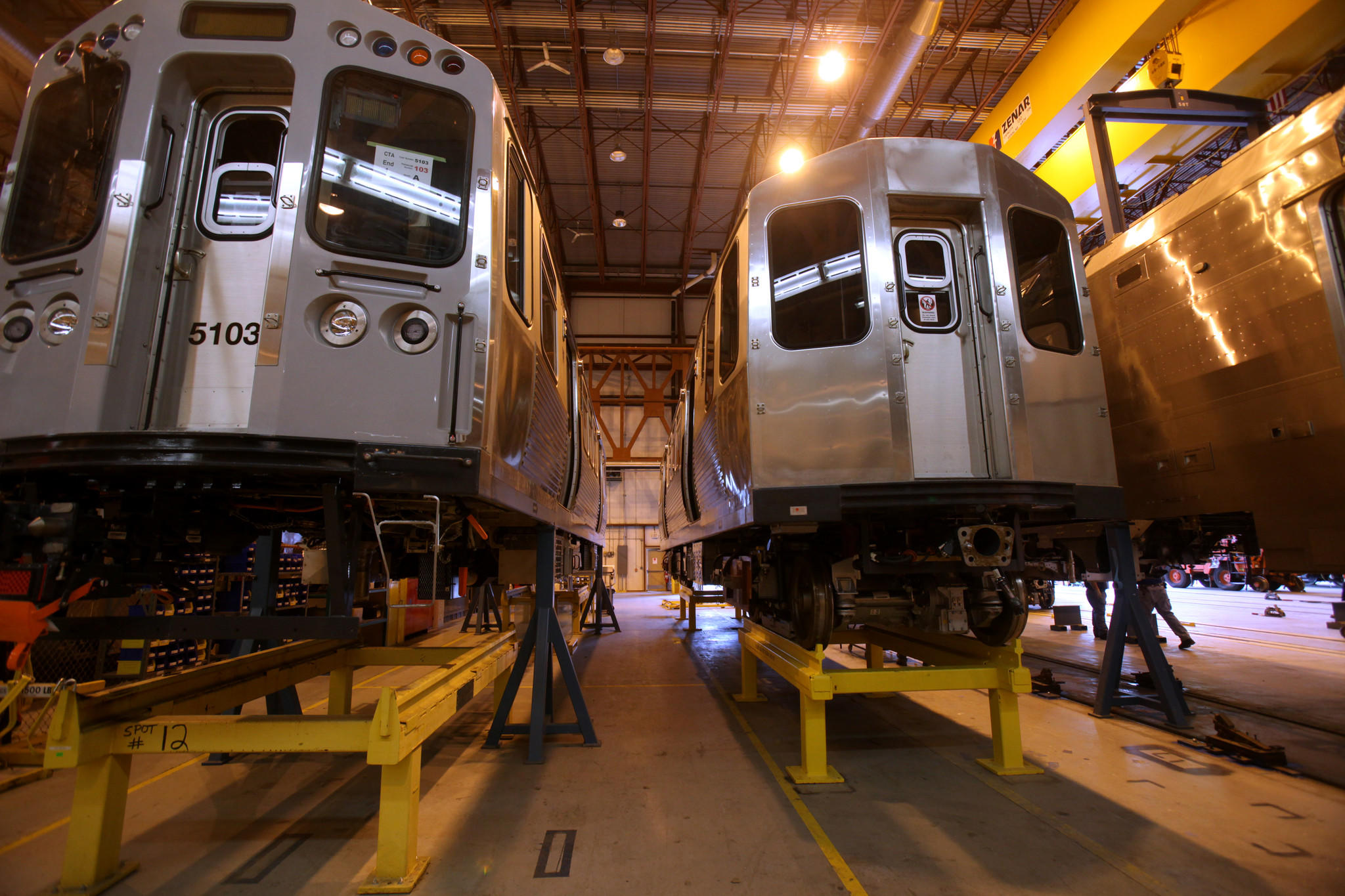 The Bombardier factory in Plattsburgh N.Y. manufacturing rail cars for the CTA.