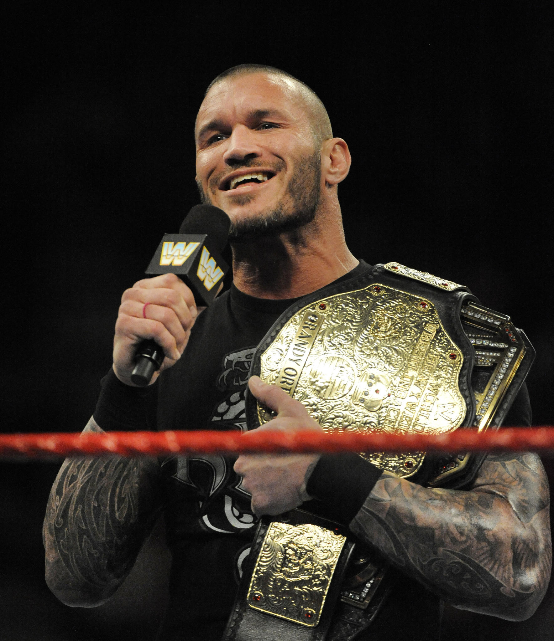 Heavyweight Champion Randy Orton on the mic.