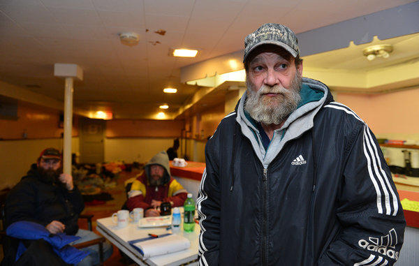 Peter Staudt talks about being homeless. He says he would love to trade places with Allentown's mayor for three days. Paul's Lutheran Church's Safe Haven is a warm refuge for the homeless. Wednesday, January 23, 2014.