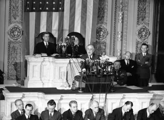 President Franklin D. Roosevelt giving his 1943 State of the Union address on Capitol Hill.