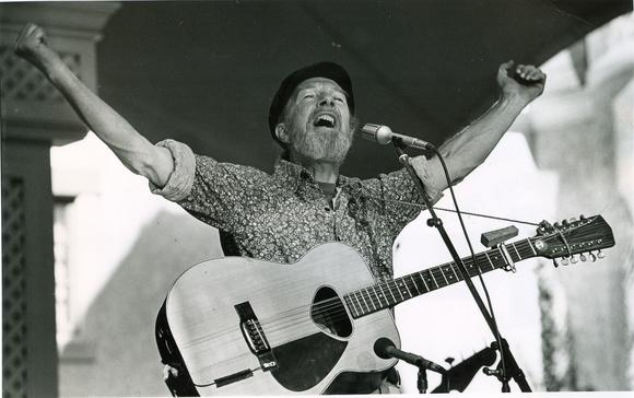 Pete Seeger sings at Busch Gardens Williamsburg in May of 1981.