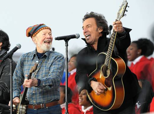 Pete Seeger, left, and Bruce Springsteen perform at the We are One Inaugural Celebration at the Lincoln Memorial on January 18, 2009 in Washington, DC.