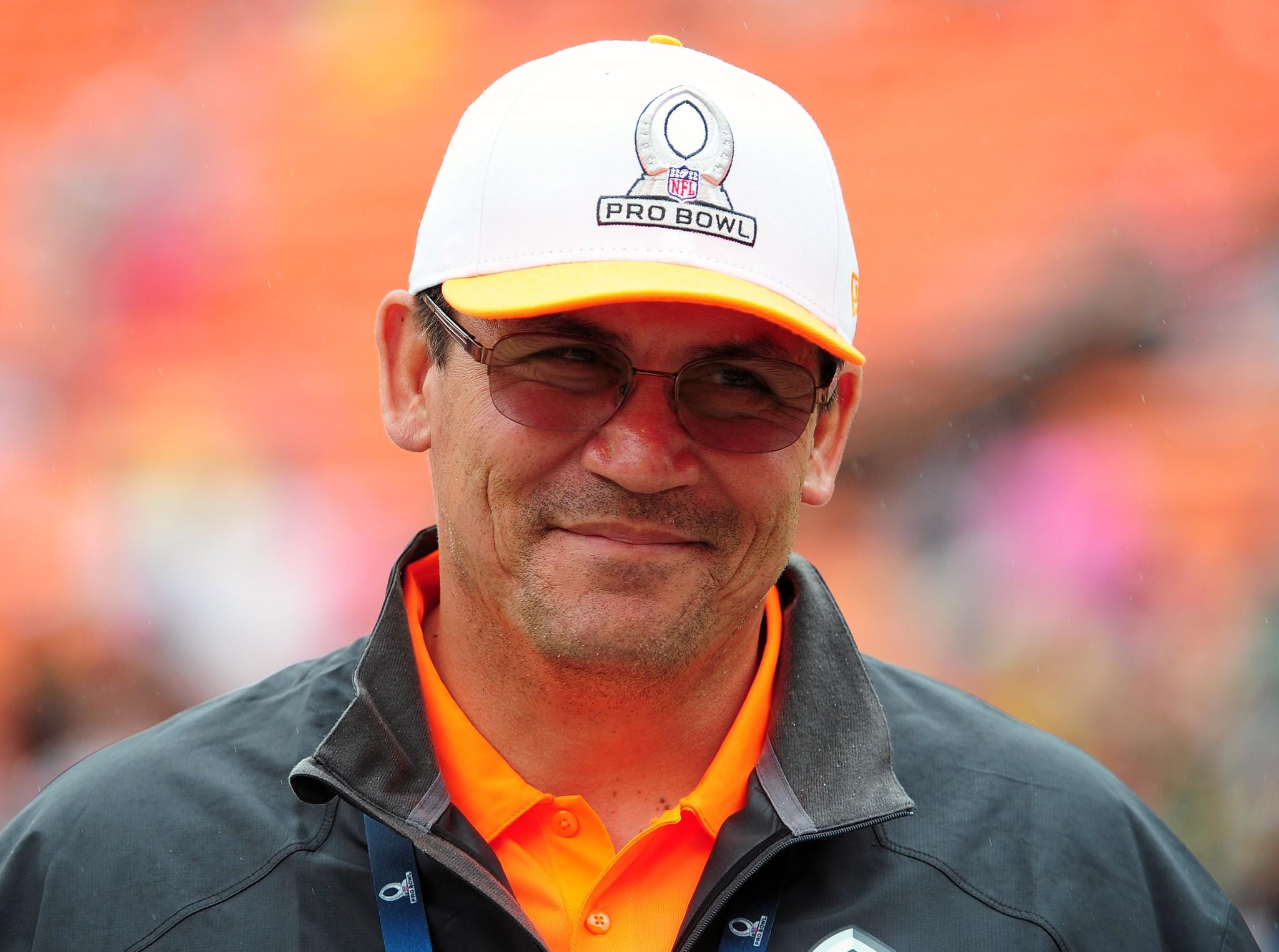 Coach Ron Rivera of the Carolina Panthers and Team Rice celebrates after the 2014 Pro Bowl.