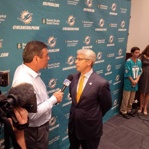 New Miami Dolphins GM Dennis Hickey is interviewed by Joe Rose of NBC 6 and WQAM at Hickey's introductory news conference.