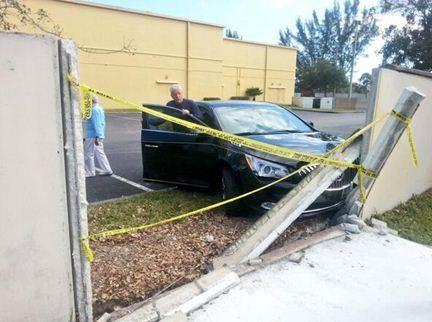 There were no injuries after a man in his 70s crashed a car through a concrete wall near Quiet Waters Elementary School in Deerfield Beach