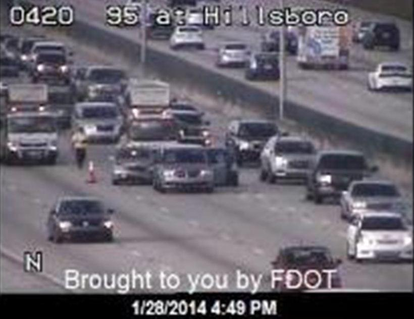 Several crashes backed up rush hour traffic on Interstate 95 for miles, the FHP said