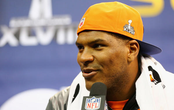 Denver Broncos tight end Julius Thomas answers questions at Super Bowl XLVIII media day at the Prudential Center in Newark, N.J., on Tuesday. Thomas has played an important role in the Broncos' offense this season.