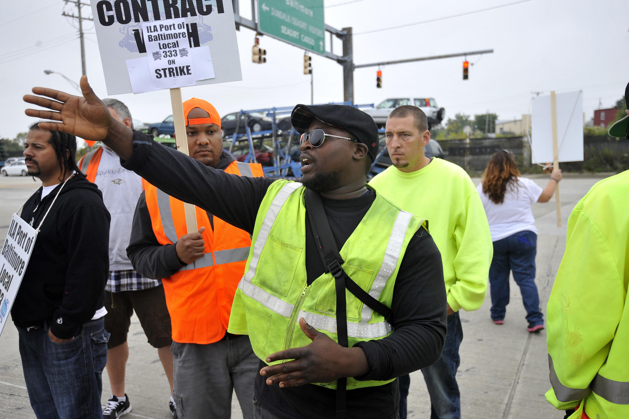Omahie Mitchell takes part in the brief longshoremen strike at the Port of Baltimore in October.