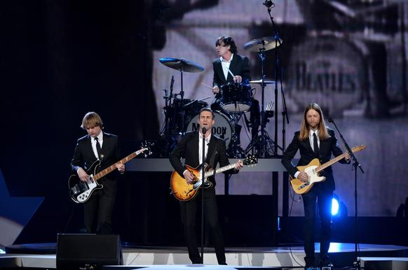 Recording artists Mickey Madden, left, Adam Levine, Matt Flynn and James Valentine of Maroon 5