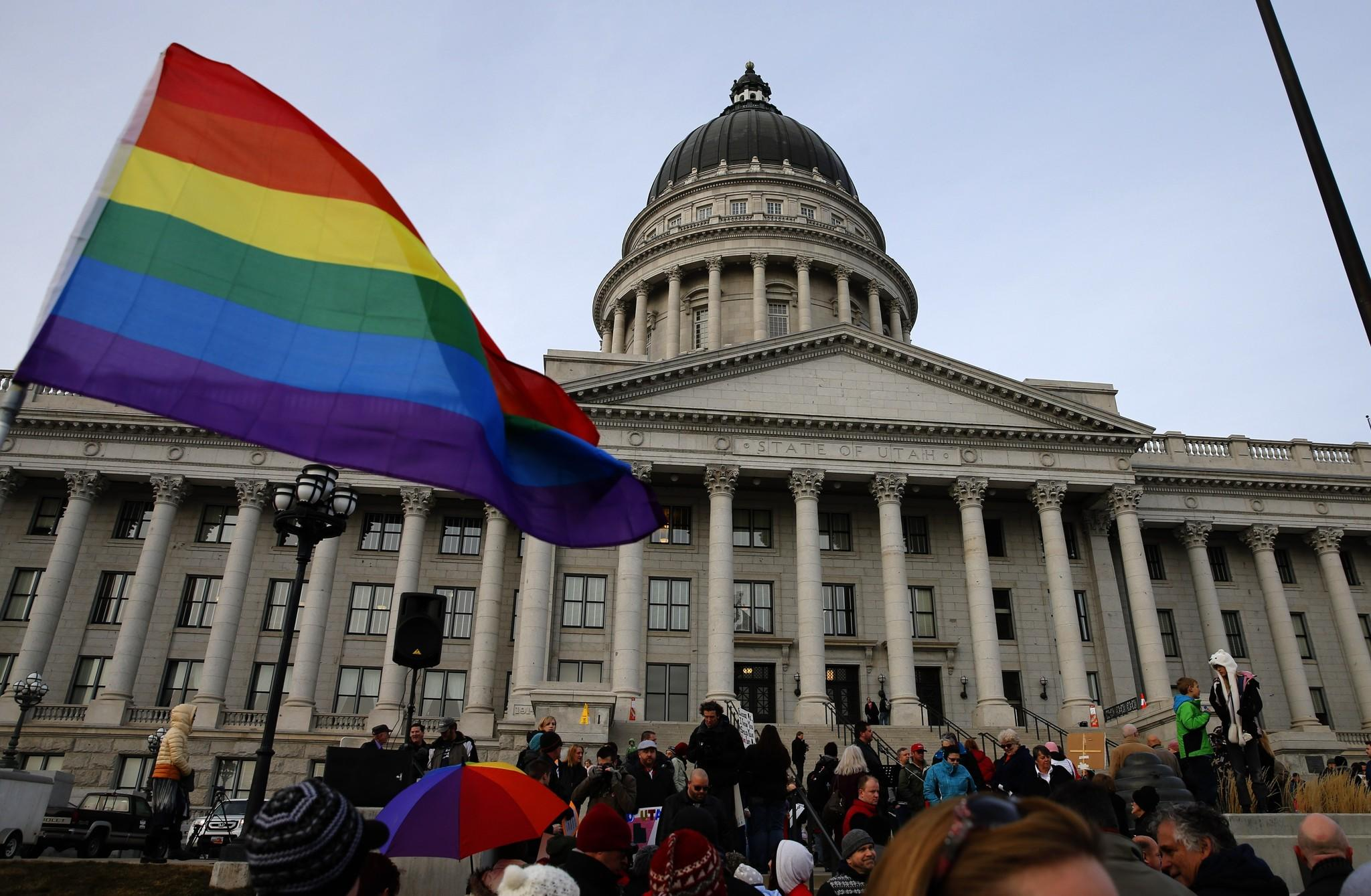 Supporters hold a pro-gay marriage rally outside the Utah State Capitol in Salt Lake City.