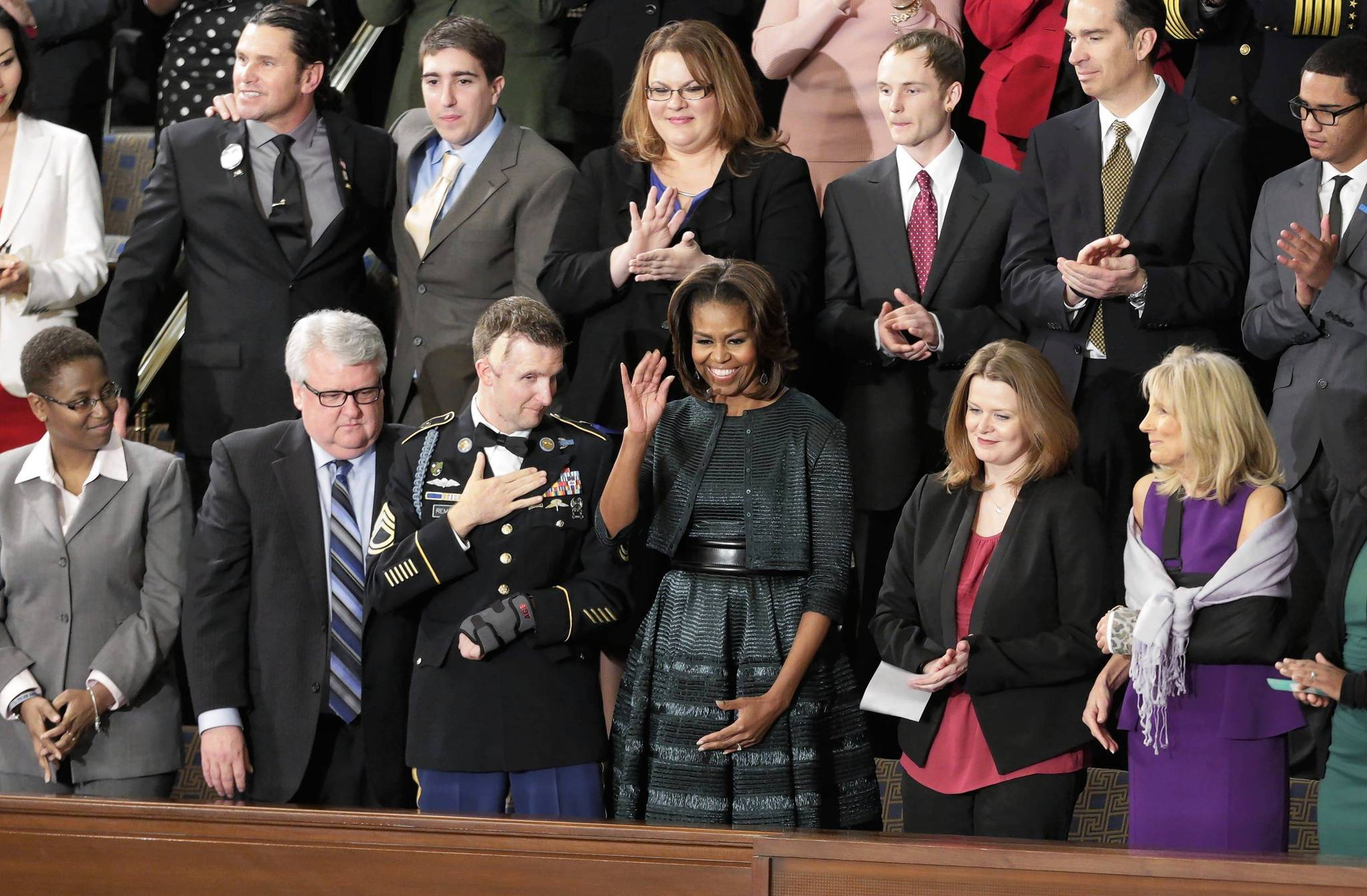 First lady Michelle Obama waves before President Barack Obama's State of the Union speech on Tuesday night.