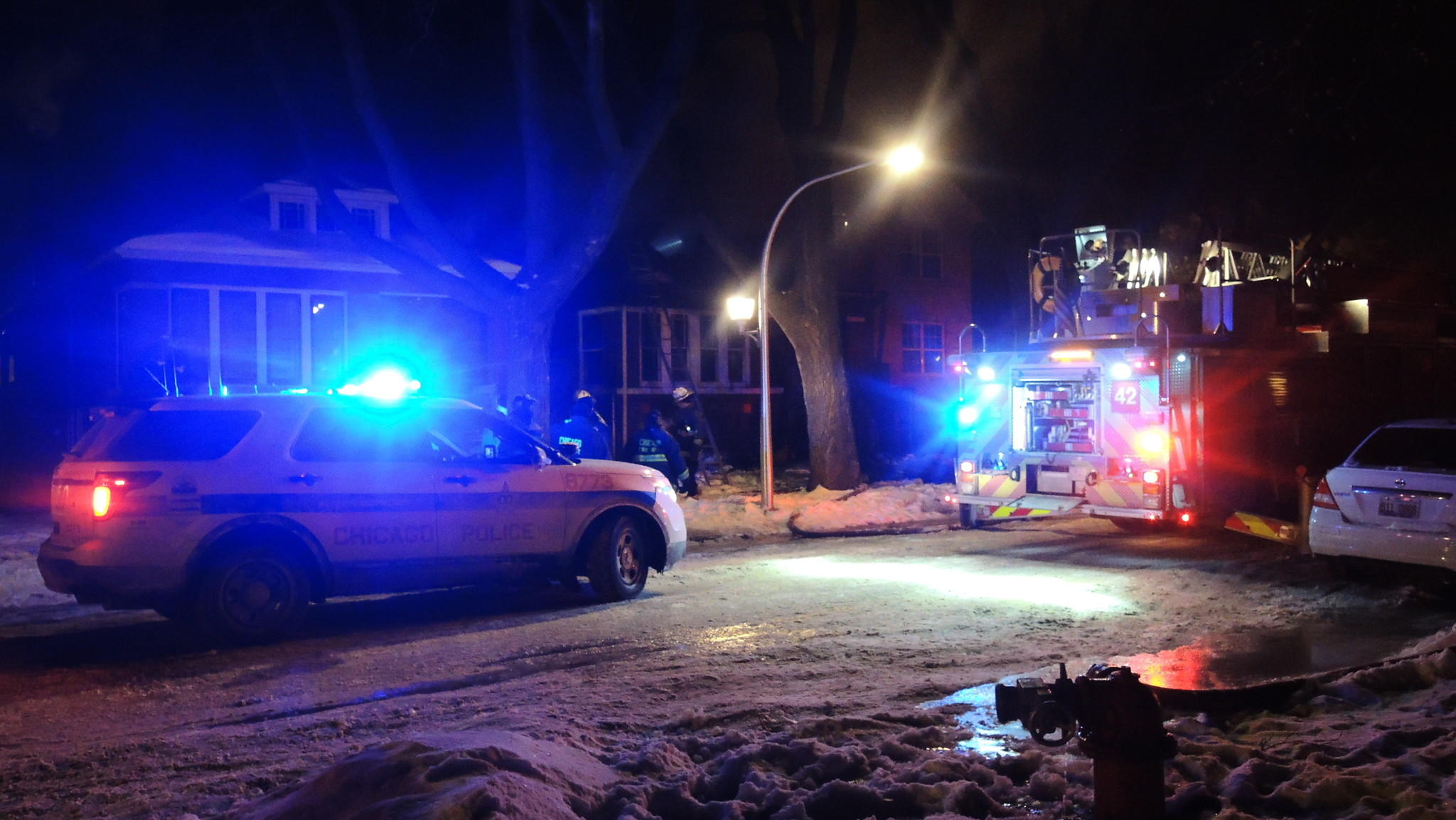 Emergency crews at a fire in the 8300 block of South Maryland Avenue on Jan. 29.