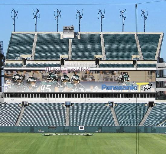 This illustration shows the brand new LED board being installed by Panasonic at Lincoln Financial Field.