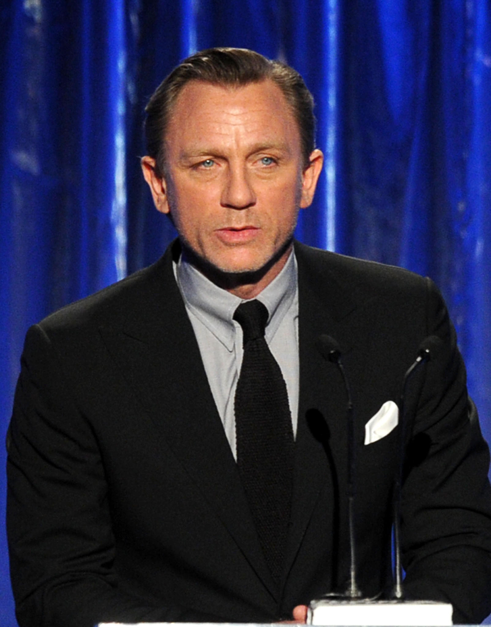 Actor Daniel Craig speaks onstage during the 25th annual Producers Guild of America Awards at The Beverly Hilton Hotel on Jan. 19, 2014 in Beverly Hills, California.
