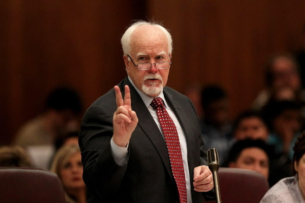 Ald. Patrick O'Connor, seen here at a November Chicago City Council meeting, wants 8 a.m. Sunday liquor sales.