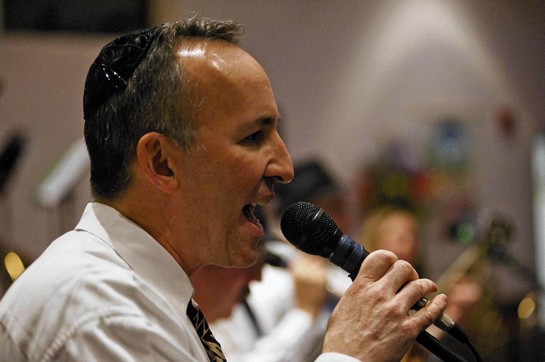 Glenn Solomon, singer for Divine Intervention, performs at Beth Shalom Congregation's benefit concert on Jan. 25.