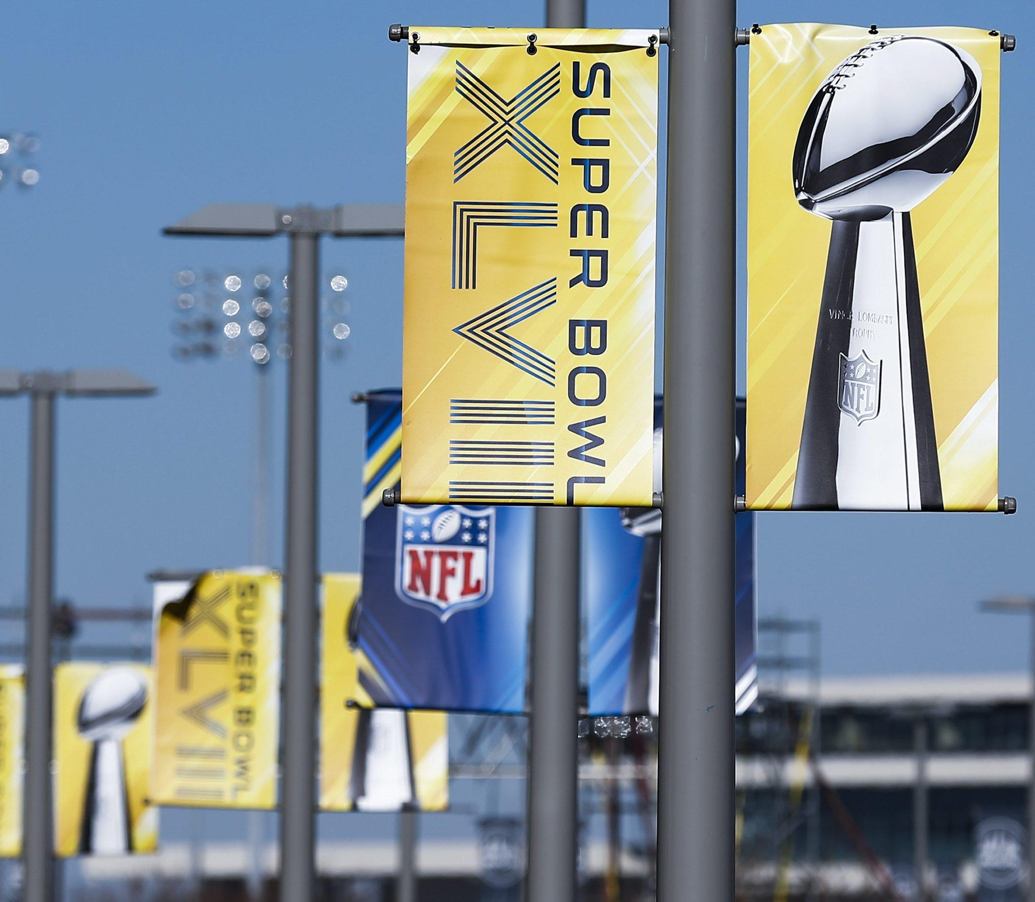 Super Bowl banners hang from posts outside MetLife Stadium as preparations for Super Bowl XLVIII continue in East Rutherford, New Jersey, USA, 29 January 2014.