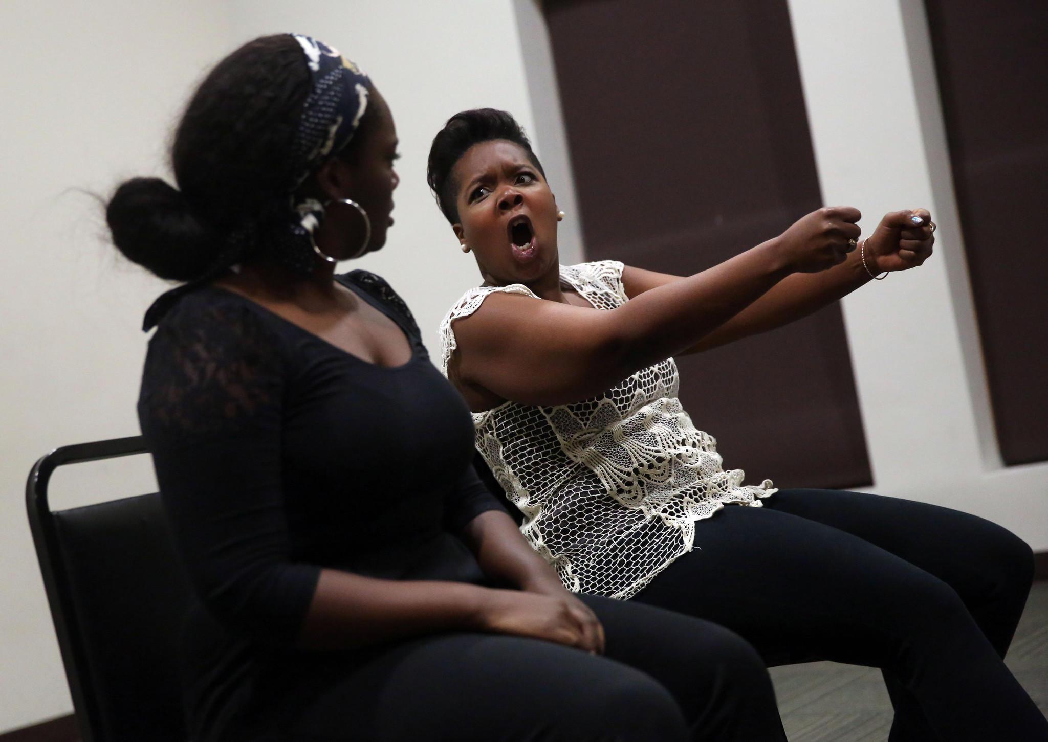 """Second City's """"Urban Twist"""" all-minority cast members Aasia Bullock and Saliha Muttalib rehearse."""