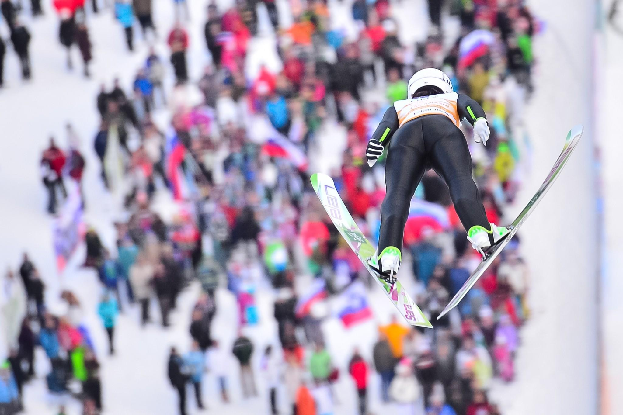 Japans' Sara Takanashi soars through the air during the Ladies FIS Ski Jumping World Cup in Planica, Slovenia.