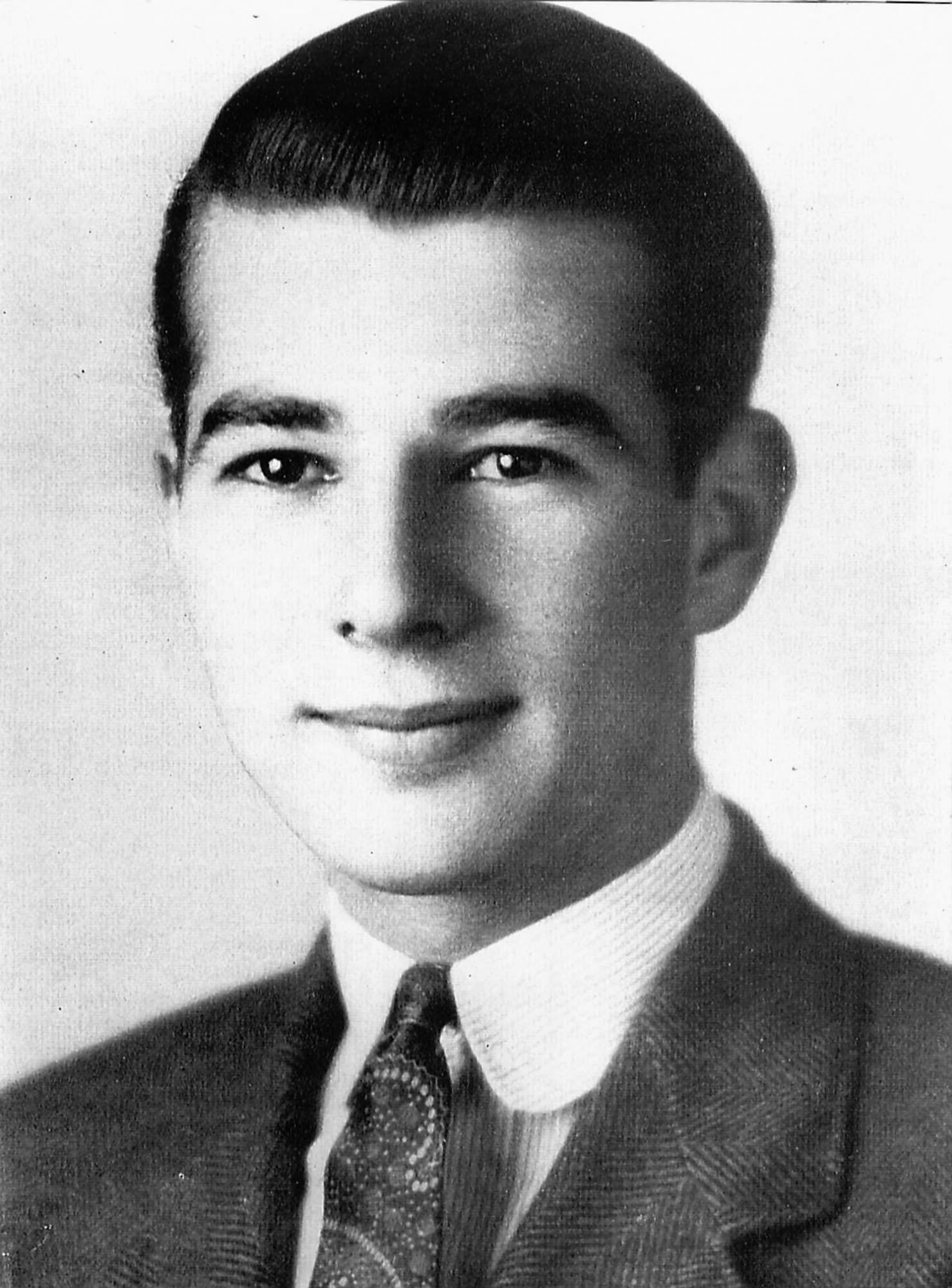 Paul Ignatius as Student Body President at Hoover High School, 1938 and as a Naval officer during World War II.