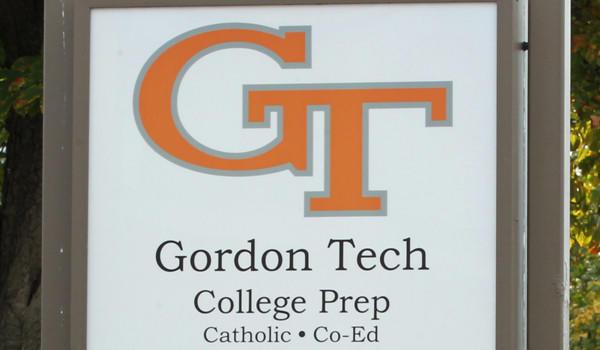 A sign outside Gordon Tech high school last year.