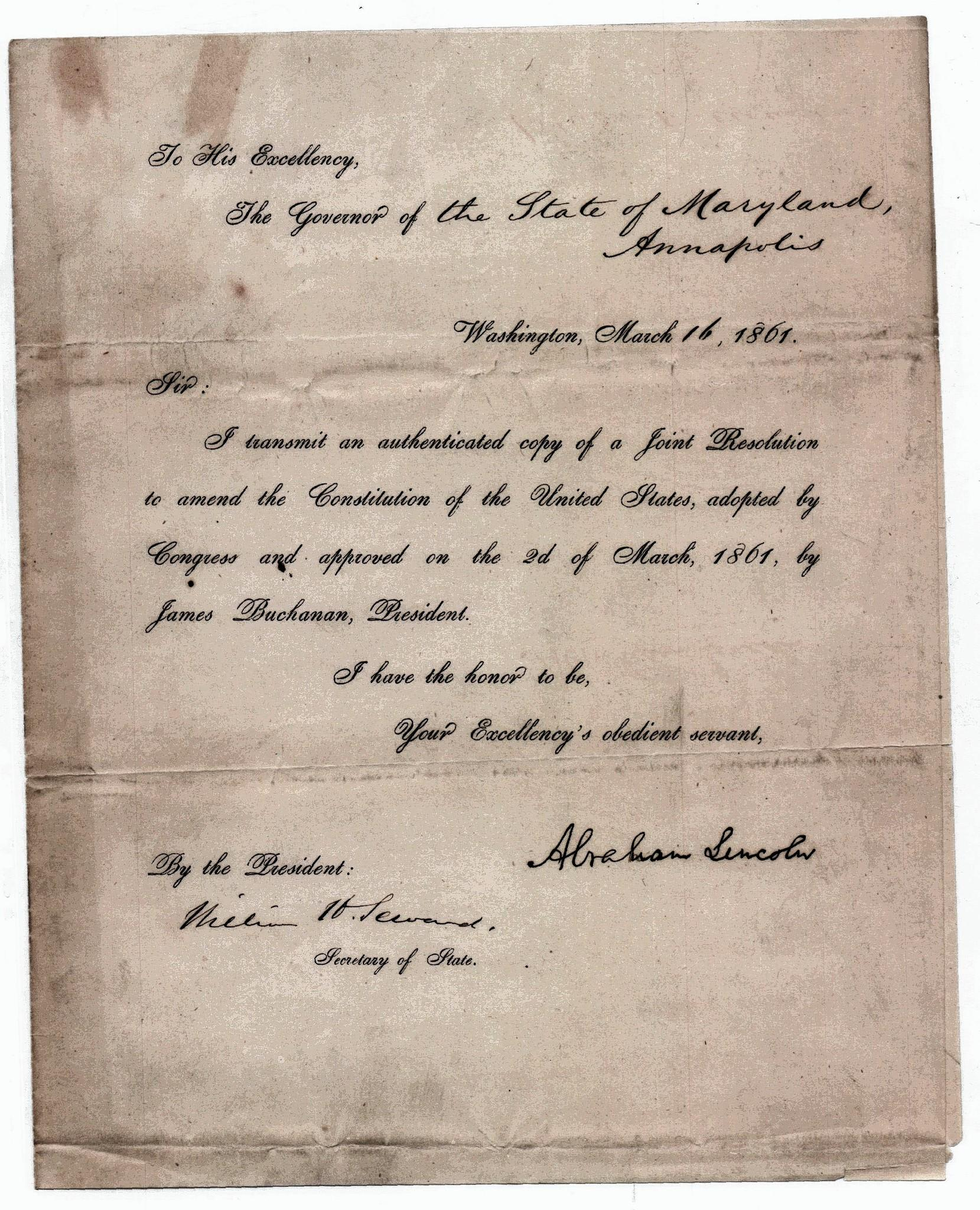 A letter from President Lincoln transmitting a proposed constitutional amendment barring Congress from prohibiting slavery.