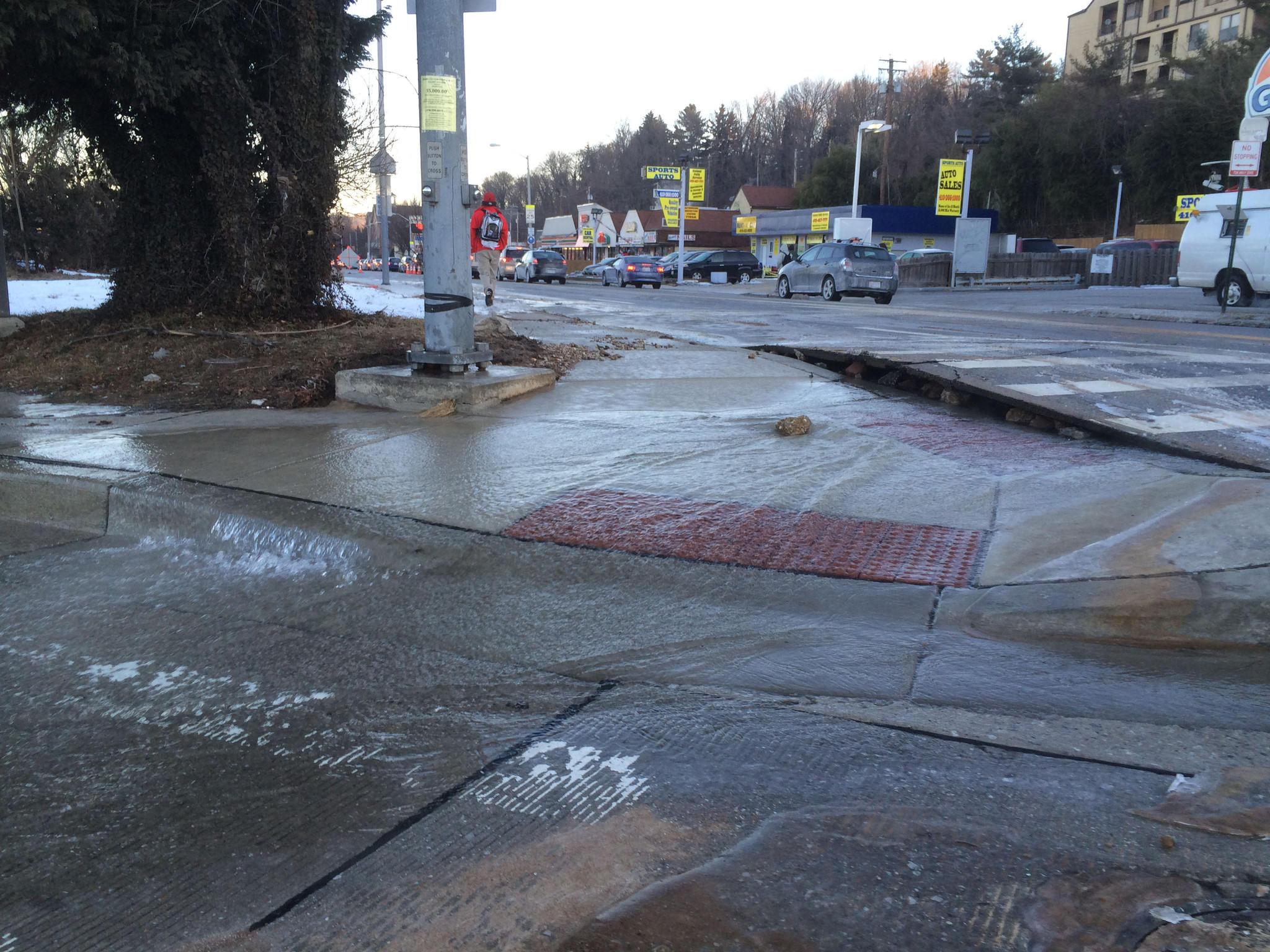 Water main break at Falls Road and Cold Spring Lane Jan. 30, 2014