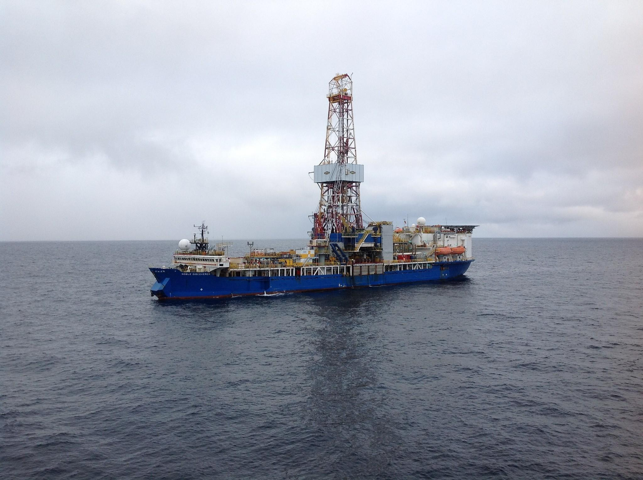The Shell drilling rig Noble Discoverer is shown in the Chukchi Sea.