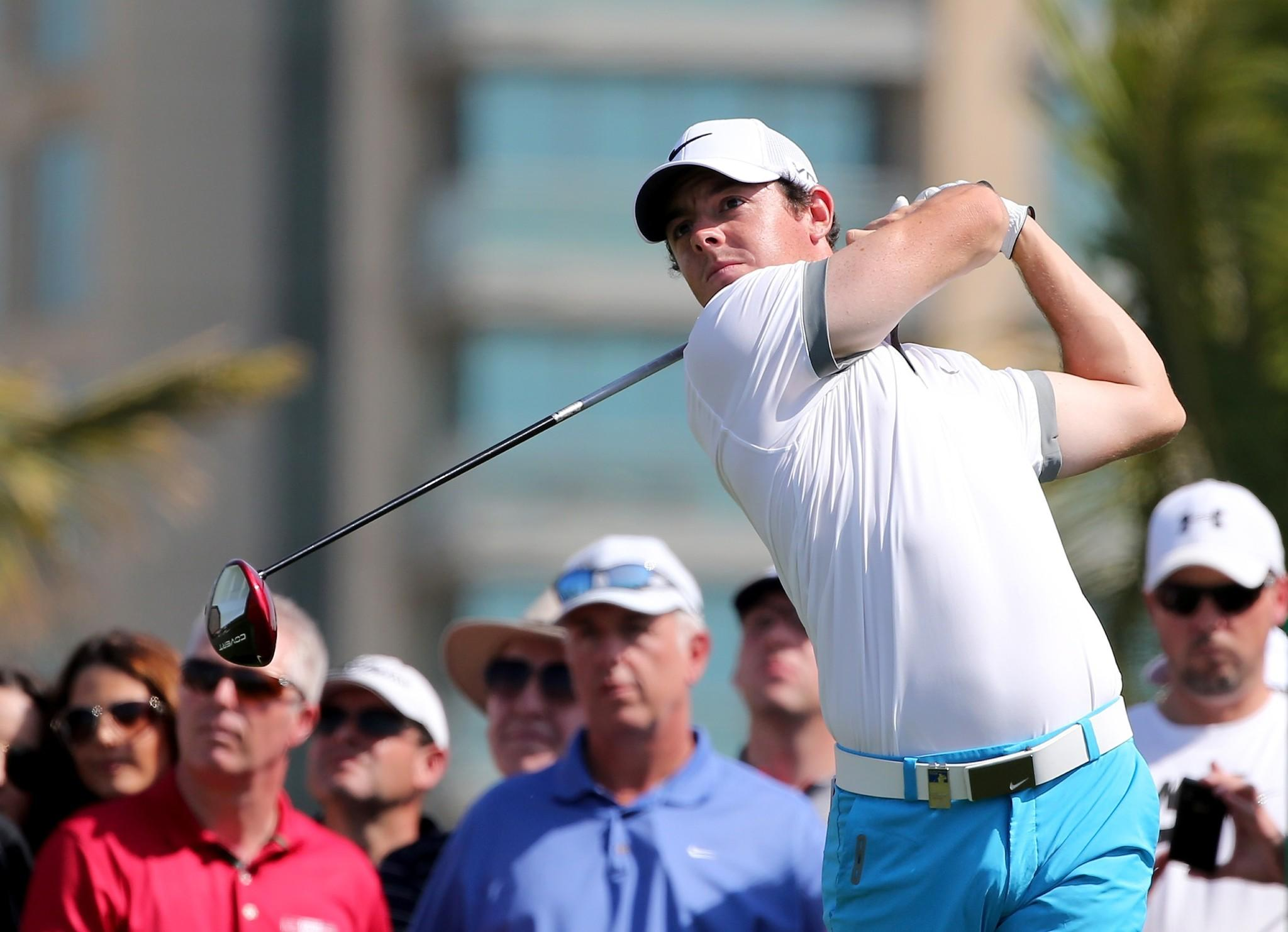 Rory Mcilroy of Norhen Ireland in action during the first round of the 2014 Omega Dubai Desert Classic.