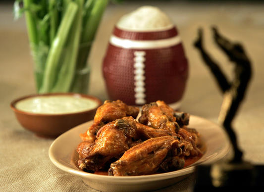 "Timeless bar food done right.<br> <a href=""http://recipes.latimes.com/recipe-buffalo-chicken-wings-with-blue-cheese-dressing/"" target""_blank""> <b>Recipe: Buffalo chicken wings with blue cheese dressing</b></a><br>"