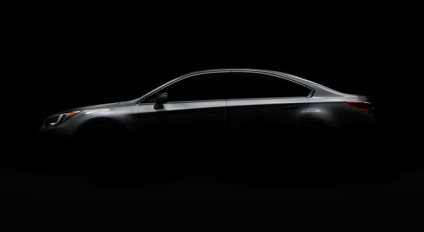An image released by Subaru hints at the 2015 Legacy mid-size sedan that the automaker is to debut at the Chicago Auto Show.