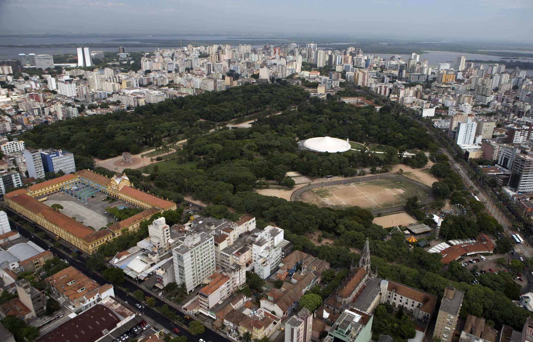 An aerial view shows the Farroupilh park in Porto Alegre January 30, 2014. Porto Alegre is one of the host cities for the 2014 World Cup in Brazil. REUTERS/Edison Vara (BRAZIL -