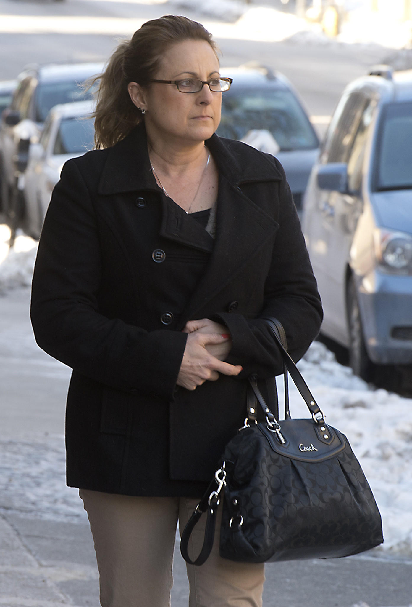 Ann Marie Ballentine, the former treasurer for First Presbyterian Church in Easton, arrives for an arraignment before District Judge Antonia Grifo in Easton on Thursday, January 30, 2014. Ballentine is charged with stealing more than $300,000 from the church.